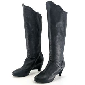 Leifsdottier Knee High Leather Riding Heeled Boots